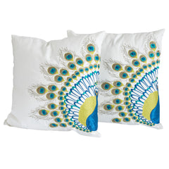 "16"" Embroidered Peacock Tail Throw Pillows (Set of 2)"