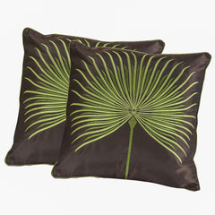 "18"" Brown And Light Green Embroidered Pillows (Set of 2)"