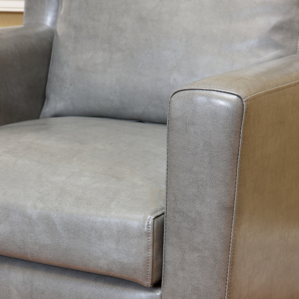 Chesterfield Grey Leather Club Chair