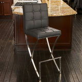 Patrick Modern Black Leather Bar Stool