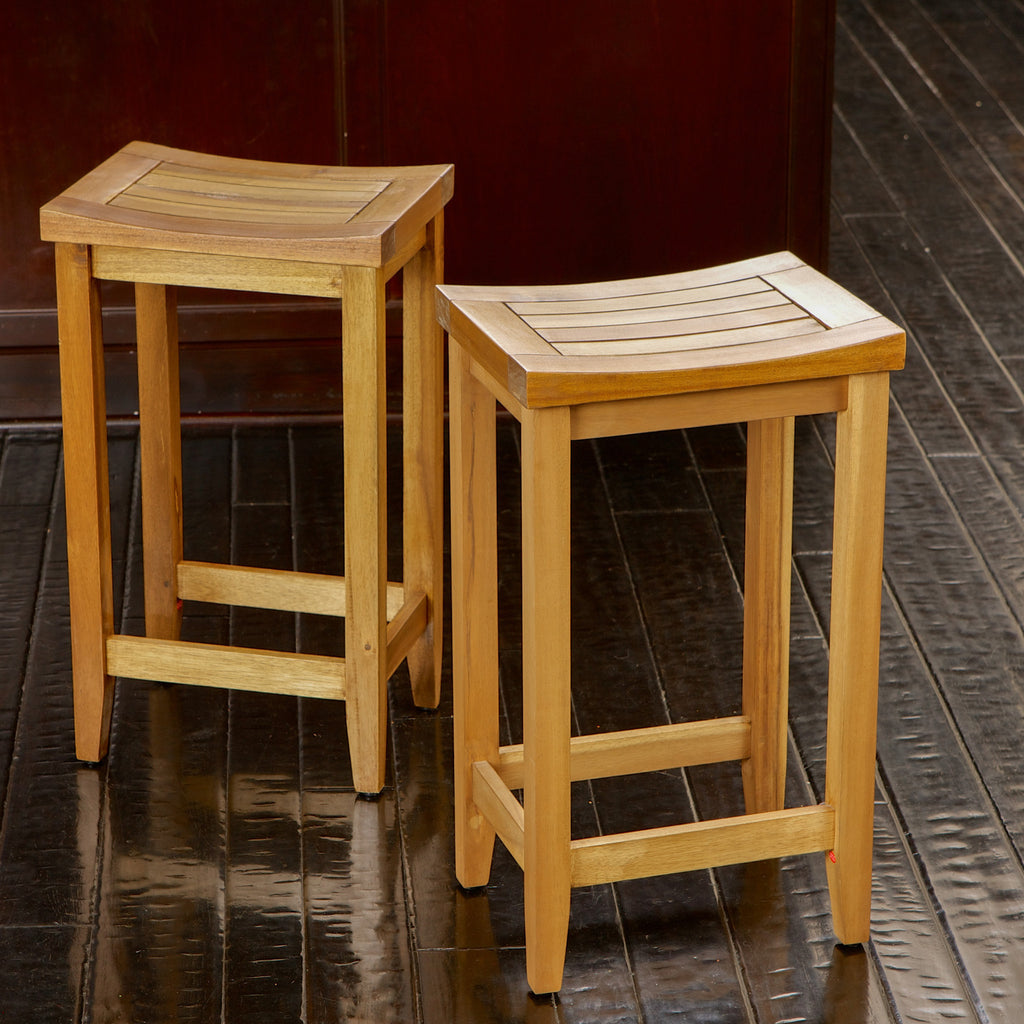637162851104 Hamburg Backless Wood Bar Stools (Set of 2)