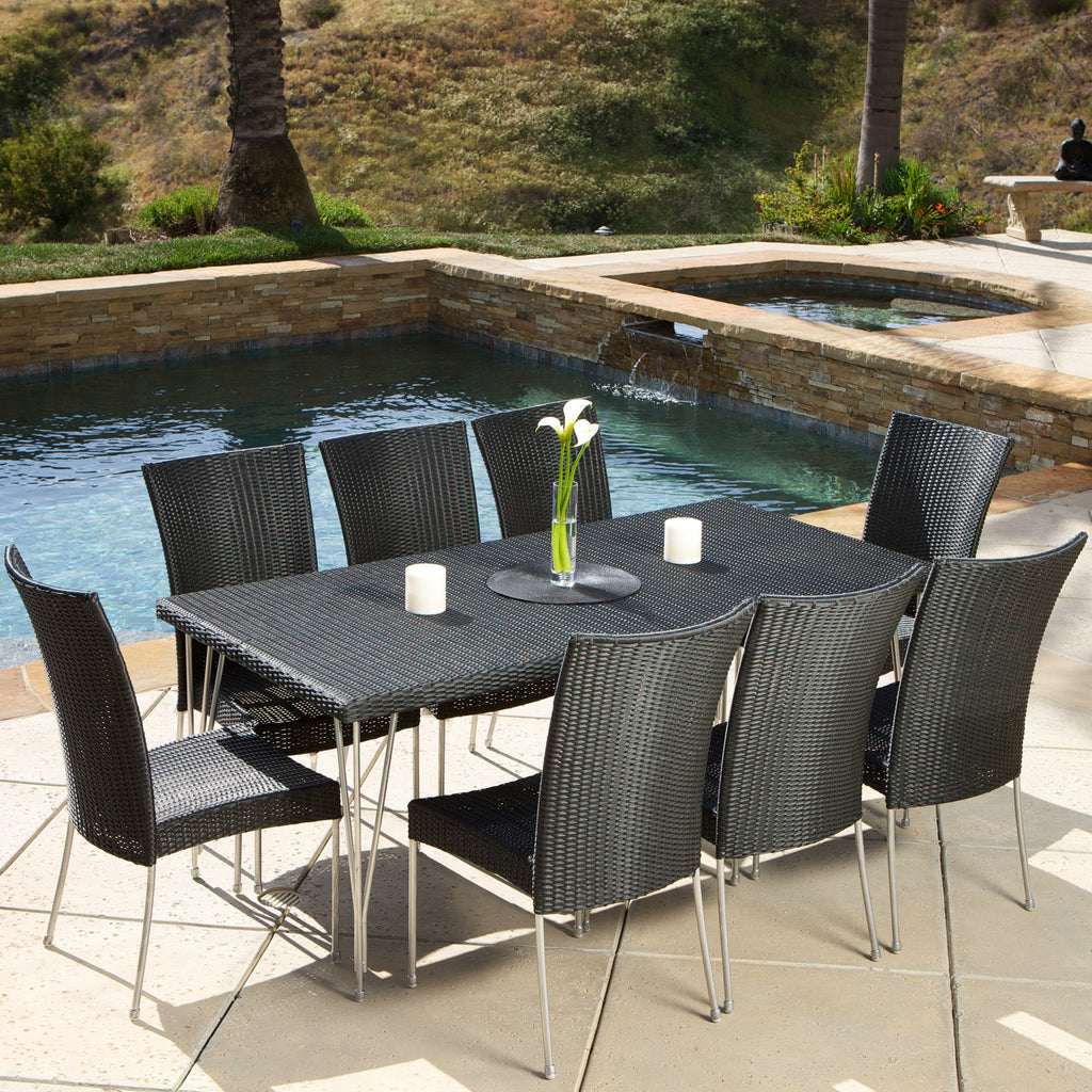Tampa 9-piece Outdoor Black Wicker Dining Set