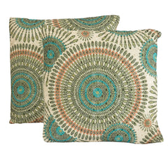 "16"" Gold Floral Circles Throw Pillows (Set of 2)"