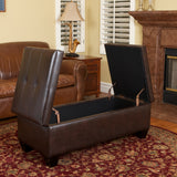 Murray Double Opening Leather Storage Ottoman