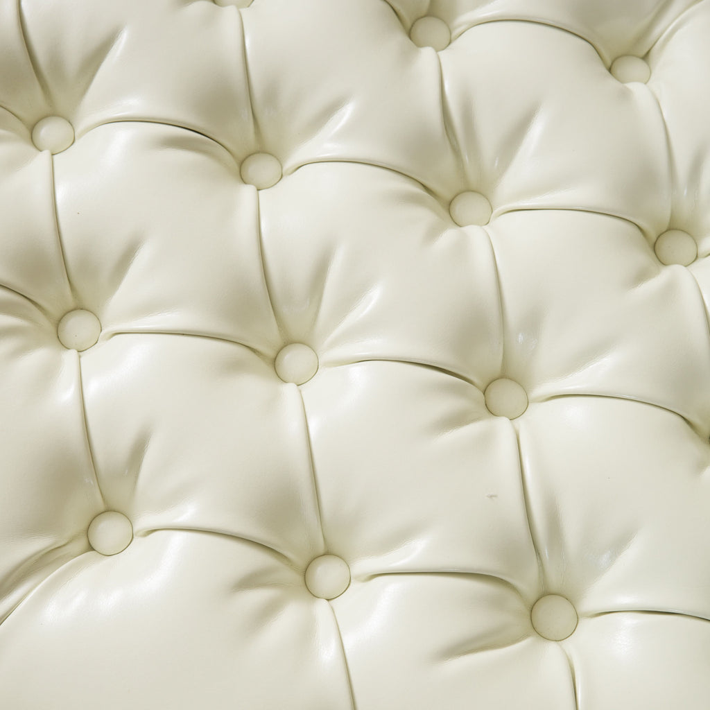 Barton Tufted Ivory Leather Storage Ottoman