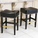 Carmen Black Leather Backless Counter Stool  (Set of 2)