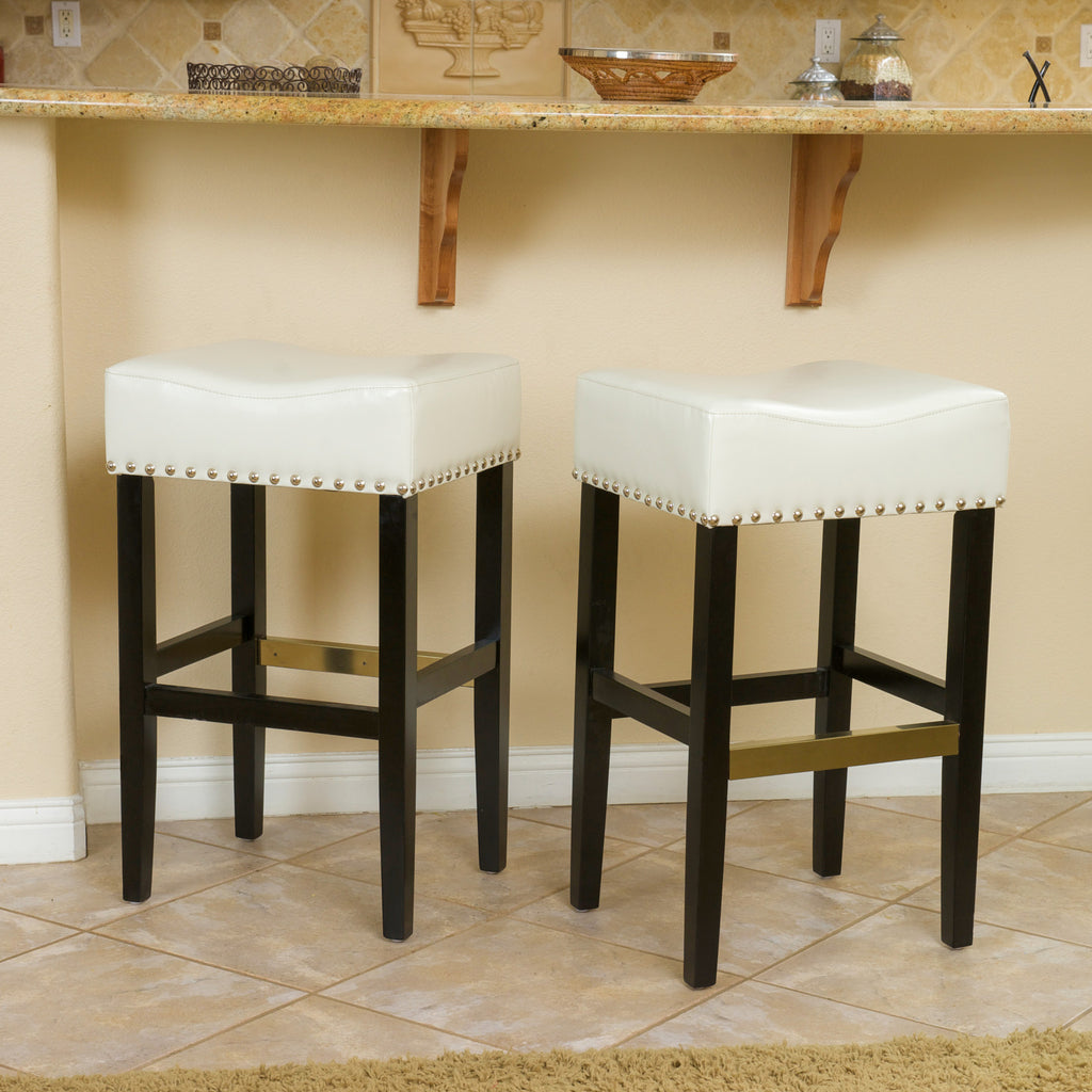 Carmen Ivory Backless Leather Bar Stool (Set of 2)