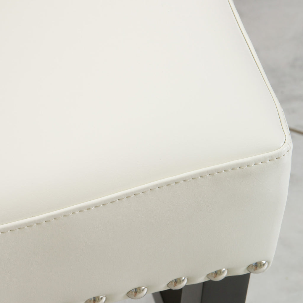 Carmen Ivory Leather Backless Counter Stool  (Set of 2)