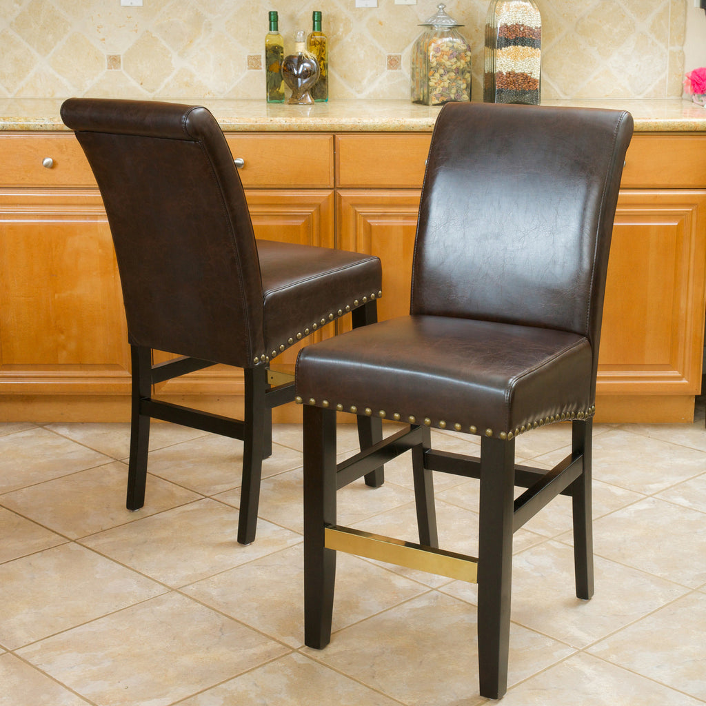 Carmen Brown Bonded Leather Counter Stools (Set of 2)