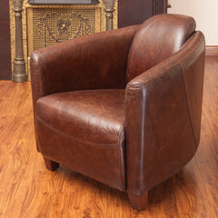 Abram Brown Top Grain Leather Club Chair
