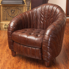 Aden Brown Tufted Channeled Leather Club Chair
