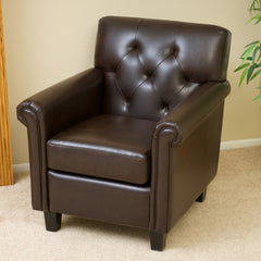 Benito Tufted Brown Leather Club Chair