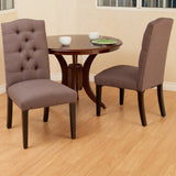 Prince Tufted Mocha Fabric Dining Chair (Set of 2)