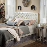 Holland Queen/Full Ivory Leather Headboard