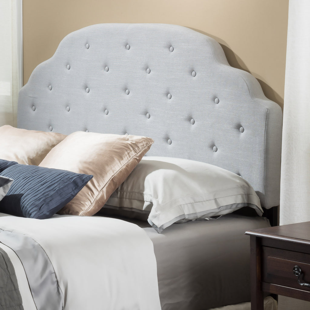 Canton Queen to Full Grey Fabric Headboard
