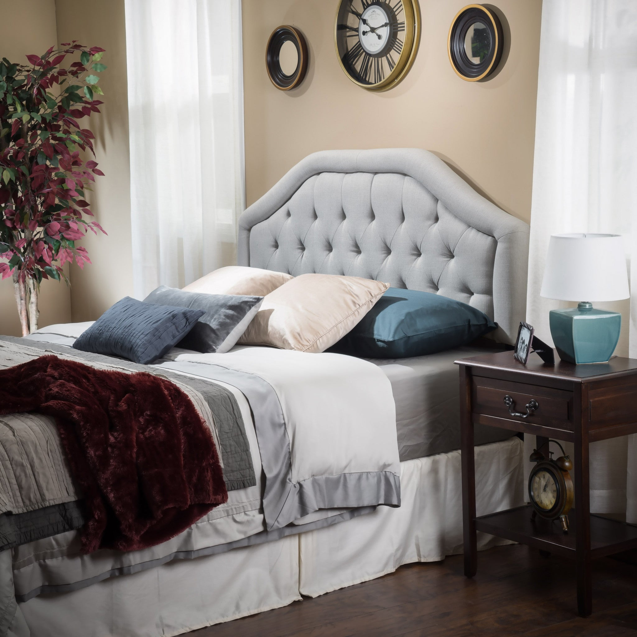 celina queen to full sized adjustable light grey fabric headboard  - celina queen to full sized adjustable light grey fabric headboard
