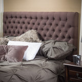 Ludington Queen to Full Brown Fabric Headboard