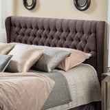 Hempstead Wingback Queen to Full Brown Fabric Headboard
