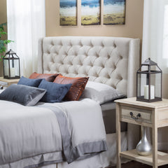 Allen Wingback Queen/Full Tufted Beige Fabric Headboard
