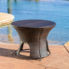 Alexandria Wicker Outdoor Storage Ottoman Table