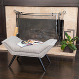 Beverly Grey Fabric Ottoman Bench