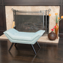 Beverly Blue/Grey Fabric Ottoman Bench