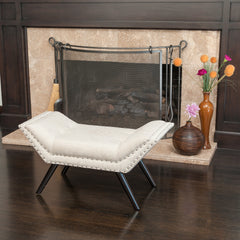 Beverly Beige Fabric Ottoman Bench