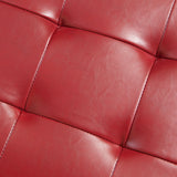 Rothwell Red Leather Storage Ottoman