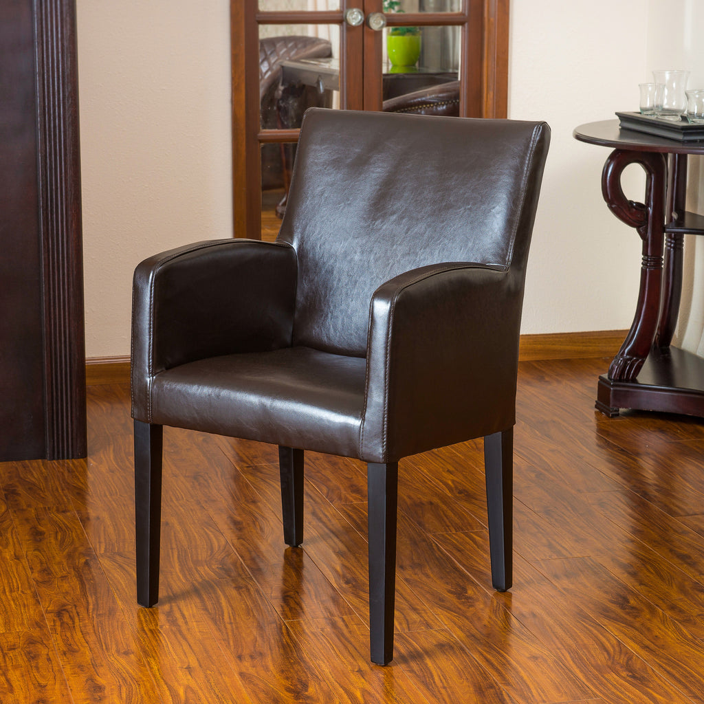 Byron Brown Leather Dining Chair