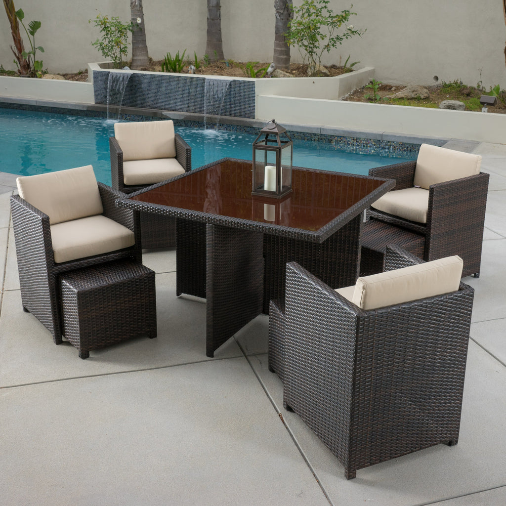 Mariela 9pc Outdoor Wicker Stackable Square Dining Set
