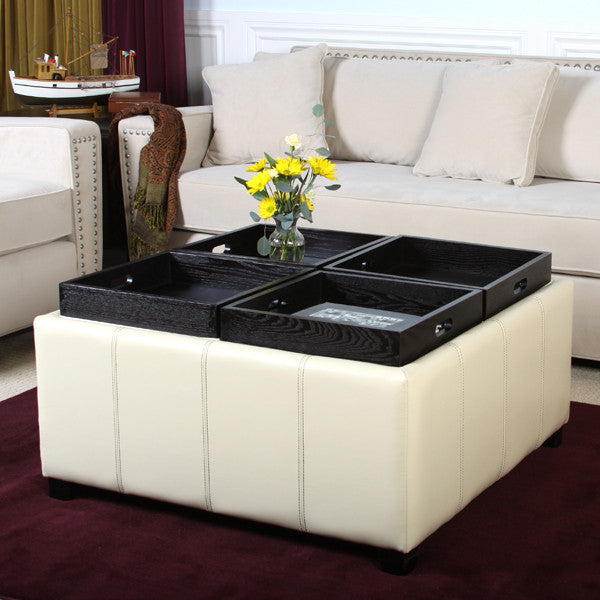 Harley Leather Ivory 4-Tray Top Storage Ottoman