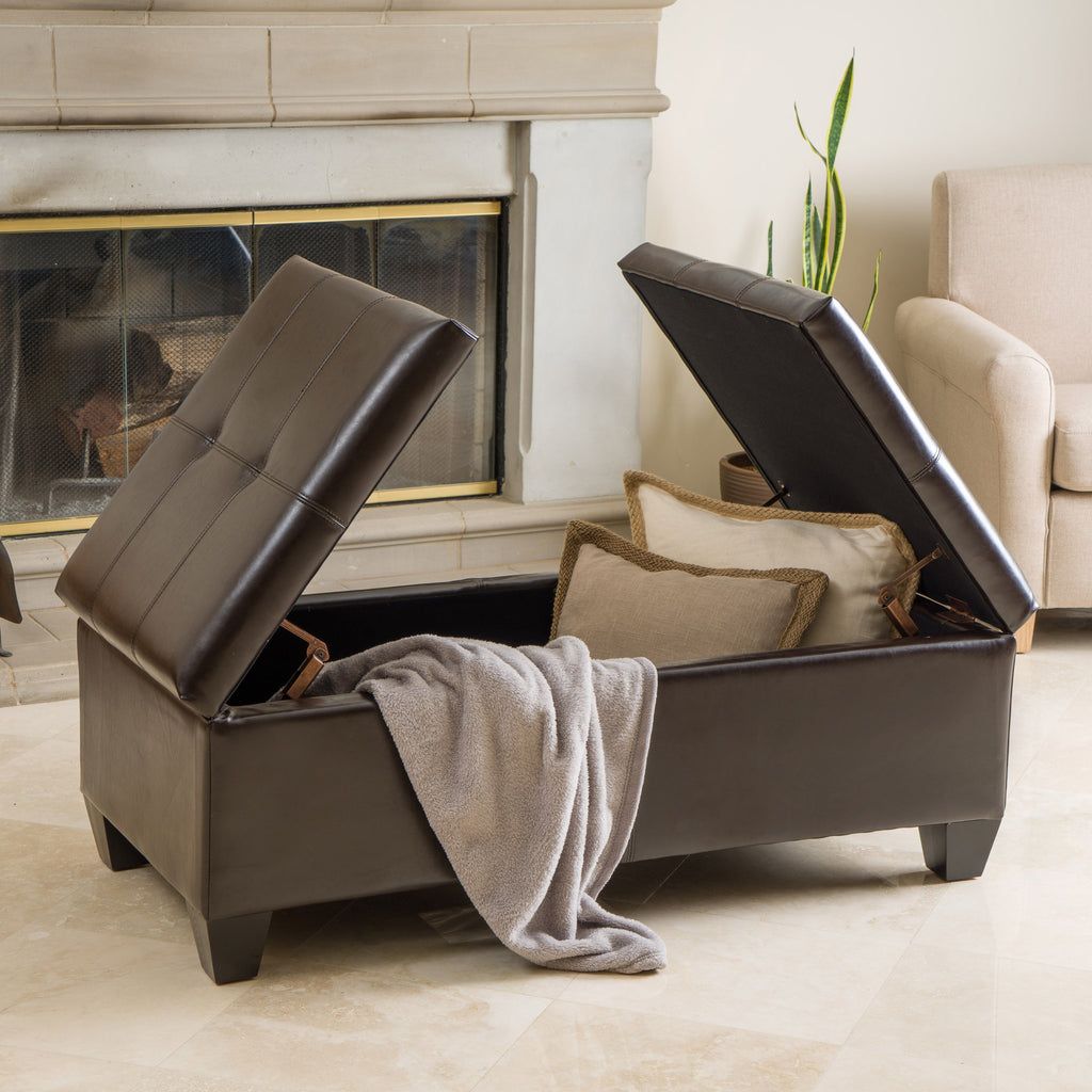 Alpine Leather Storage Ottoman Coffee Table