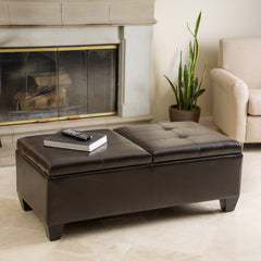 Great Alpine Leather Storage Ottoman Coffee Table