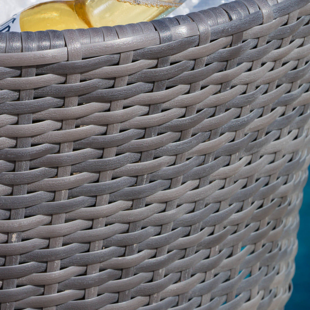 Rosin Grey PE Wicker Ice Bucket