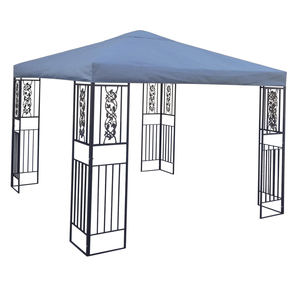 Manchester Outdoor Steel Gazebo Canopy w/ Grey Cover
