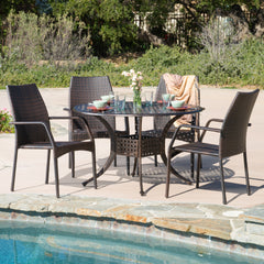 Bessemer Outdoor 5pcs Cast Aluminum Wicker Dining Set