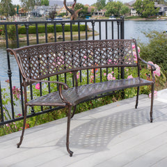 Bainbridge Outdoor Antique Copper Cast Aluminum Bench