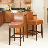 Lowry Hazelnut Leather Counter Stools (Set of 2)