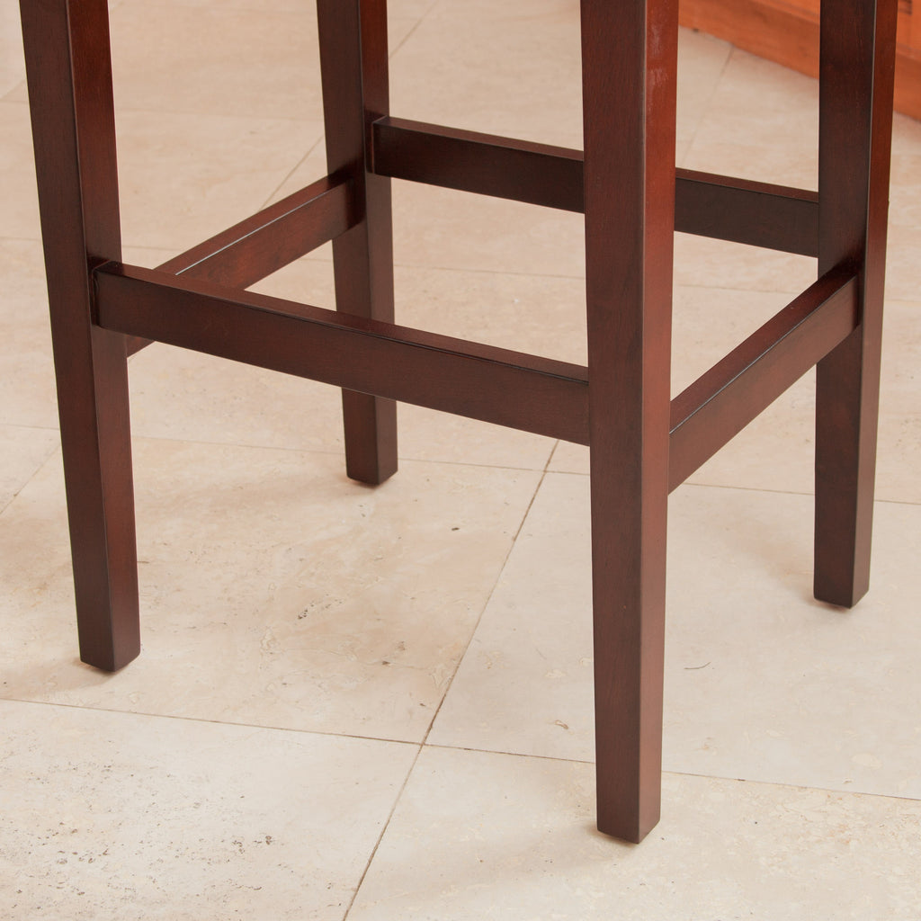 Duff Backless Hazelnut Leather Counter Stools (Set of 2)