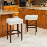 Duff Backless Ivory Leather Counter Stools (Set of 2)