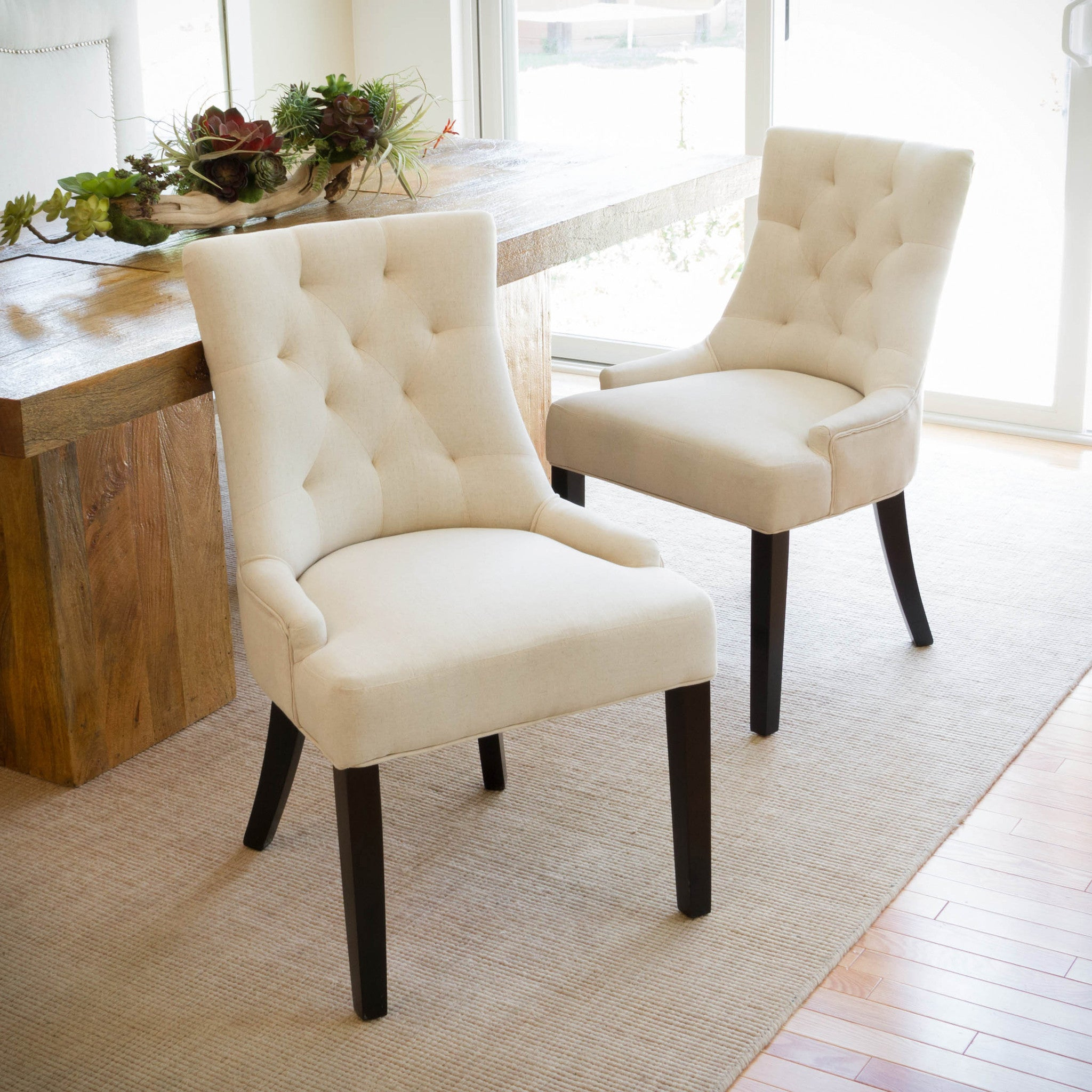 Colourful accent chairs - Janelle Beige Tufted Fabric Dining Chairs Set Of 2