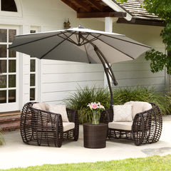 Key West Outdoor Silver Cantilever Patio Canopy Umbrella