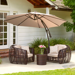 Key West Outdoor Tan Cantilever Patio Canopy Umbrella