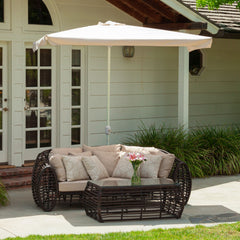 Garcia Outdoor Ivory Patio Half Canopy Umbrella