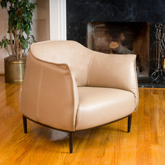 Adelina Tan Faux Leather Accent Chair