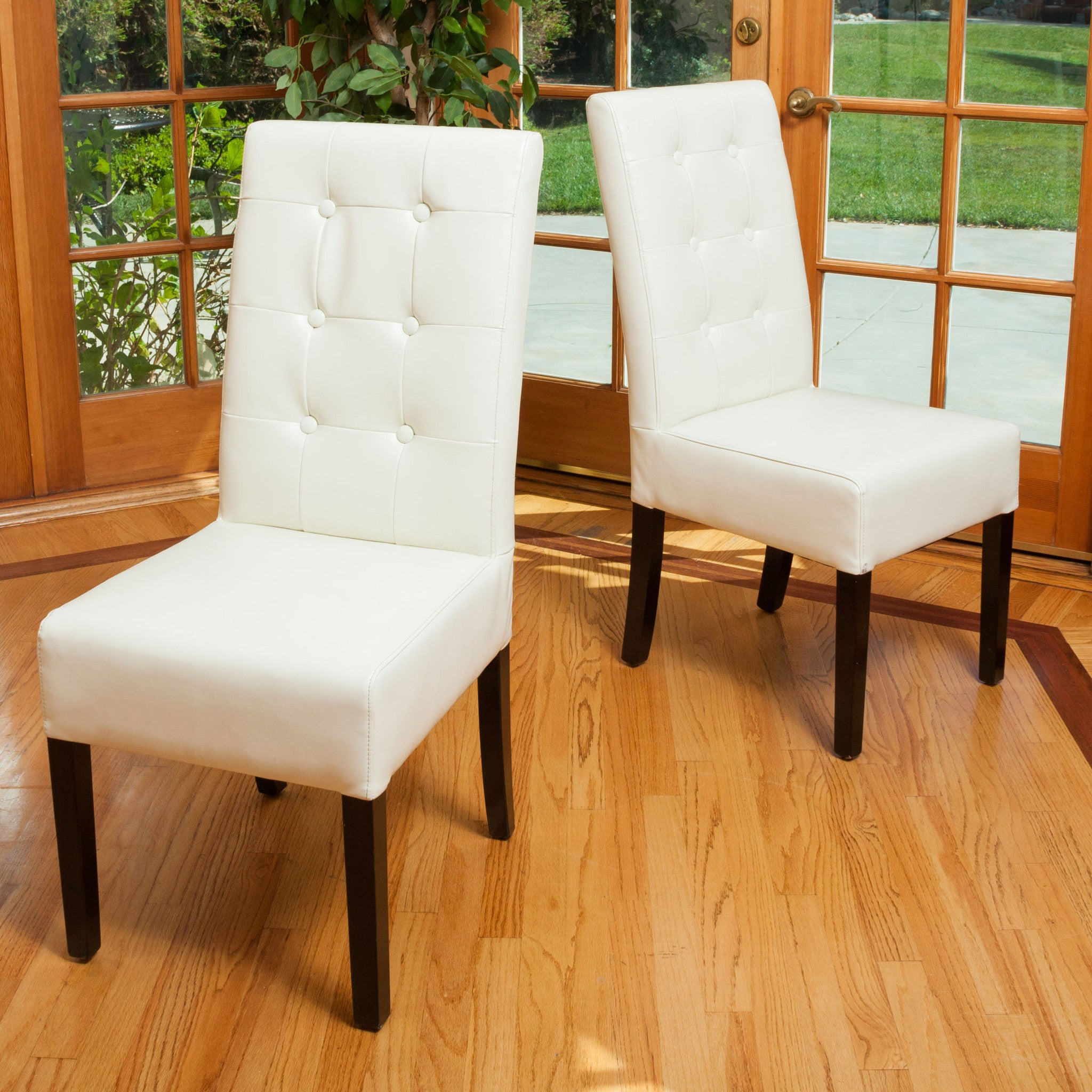 Harrison Tufted Ivory Leather Dining Chairs (Set Of 2) Part 67
