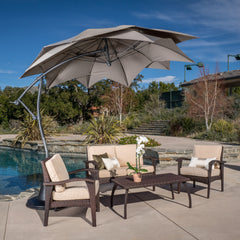 Barbados Outdoor Mocha Brown Cantilever Patio Canopy Umbrella