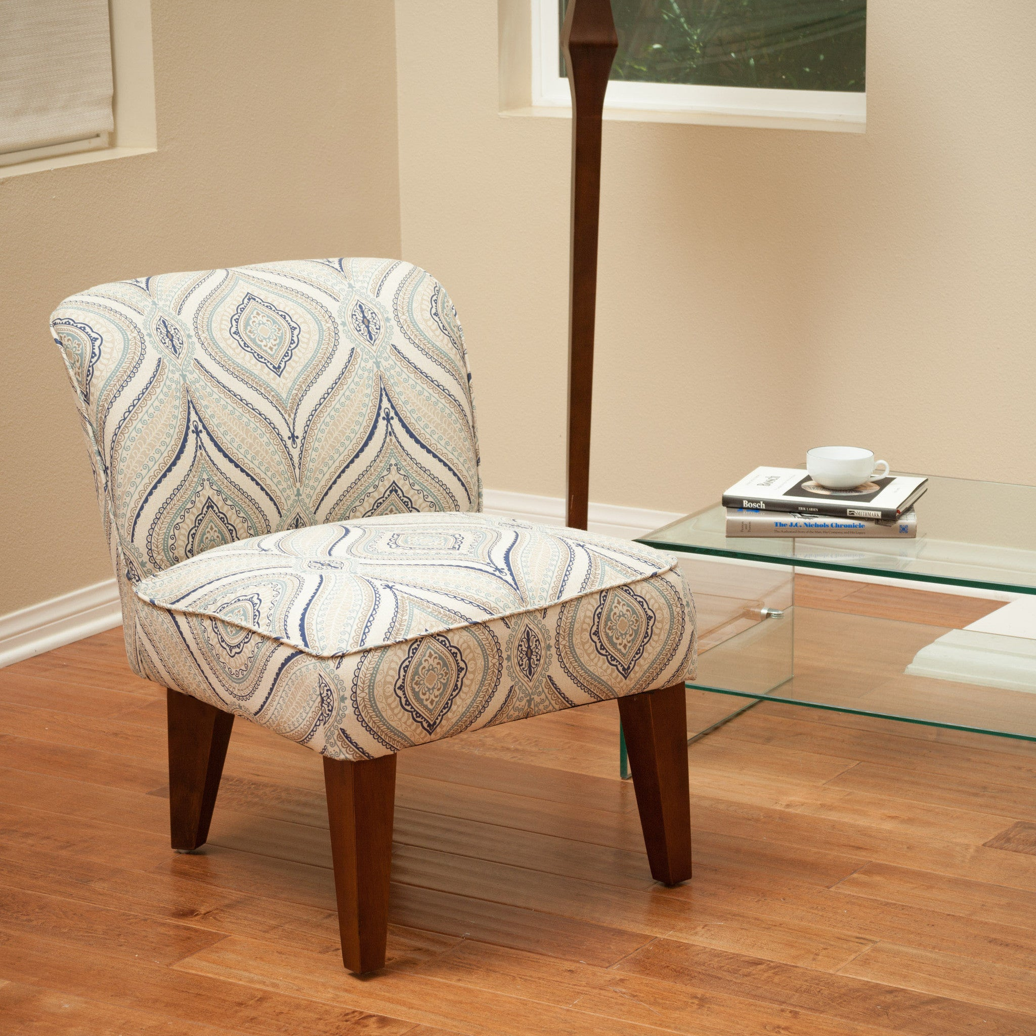 Alannah printed fabric accent slipper chair great deal for Home styles furniture canada