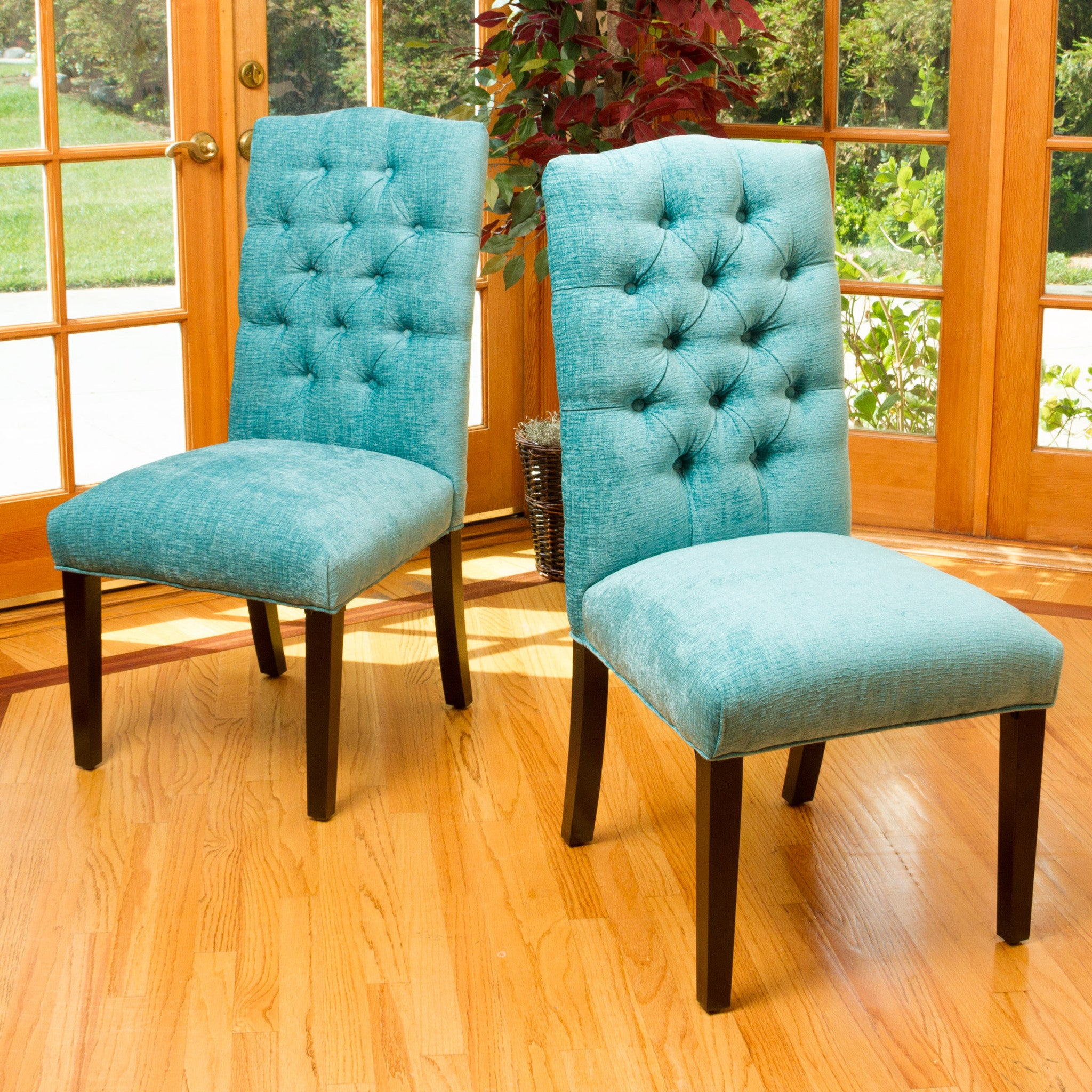 Clark Teal Green Soft Fabric Dining Chairs Set of 2