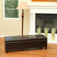 Barone Chocolate Brown Leather Storage Ottoman